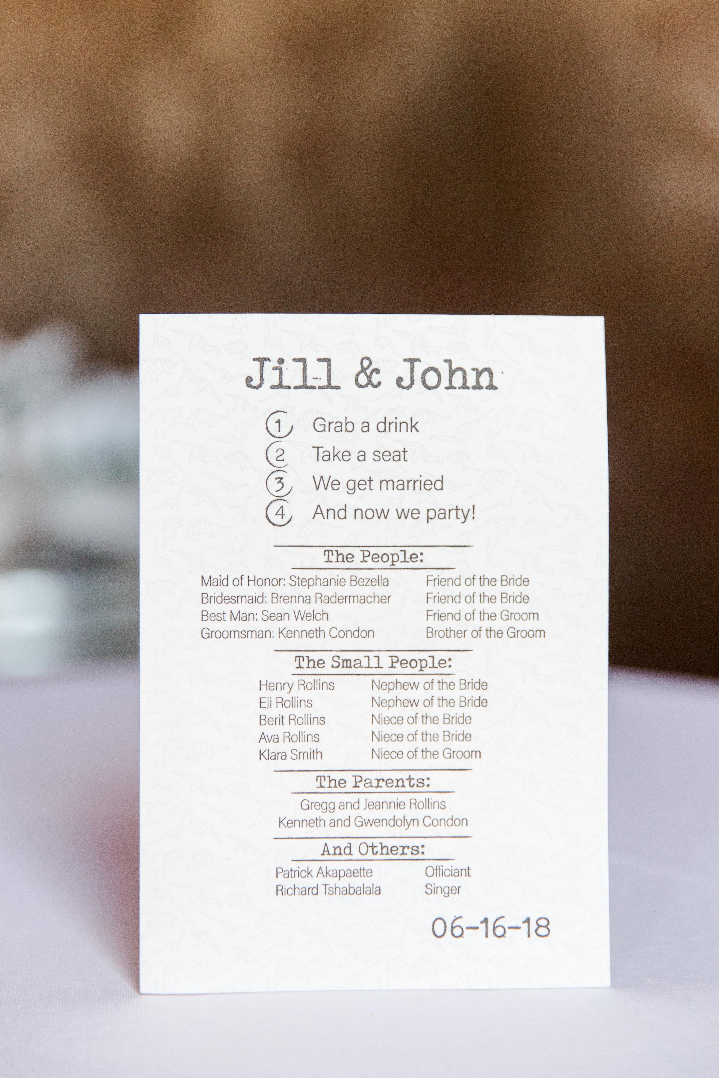 Jill + John :: Kristen Dyer :: Sixpence Events, wedding program