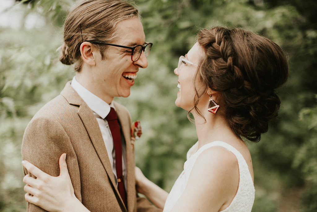 Mike + Cat :: Grace Byron Photography :: Sixpence Events, bride with glasses and braid with low bun