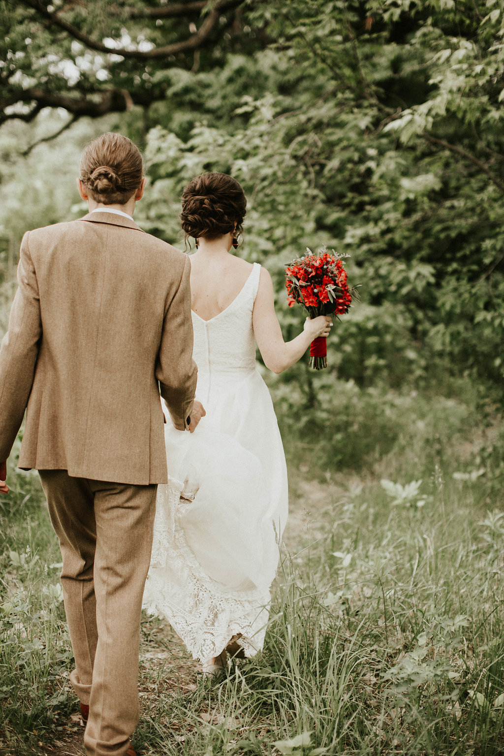 Mike + Cat :: Grace Byron Photography :: Sixpence Events, all red bouquet grocery store flowers