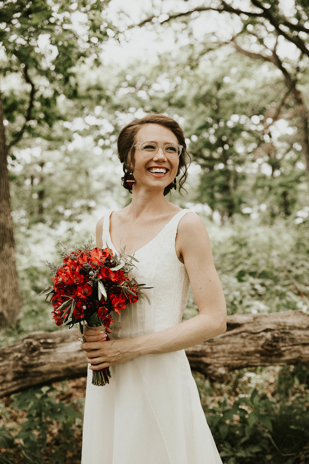 Mike + Cat :: Grace Byron Photography :: Sixpence Events, bride with clear glasses and simple wedding dress sheath