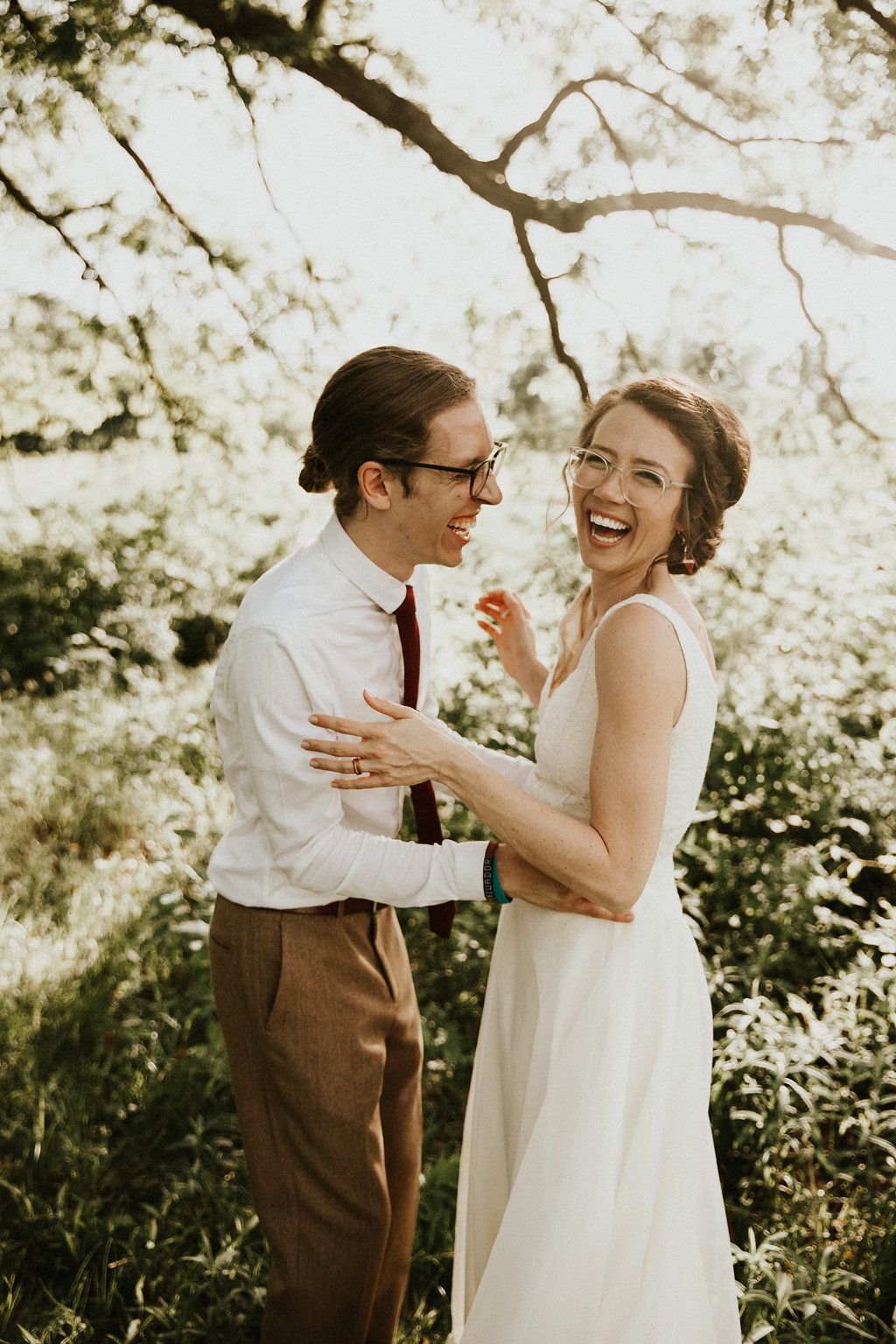 Mike + Cat :: Grace Byron Photography :: Sixpence Events, groom with low bun and wool pants