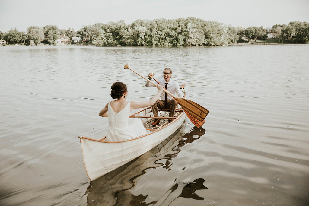 Mike + Cat :: Grace Byron Photography :: Sixpence Events, first married canoe ride at Silverwood