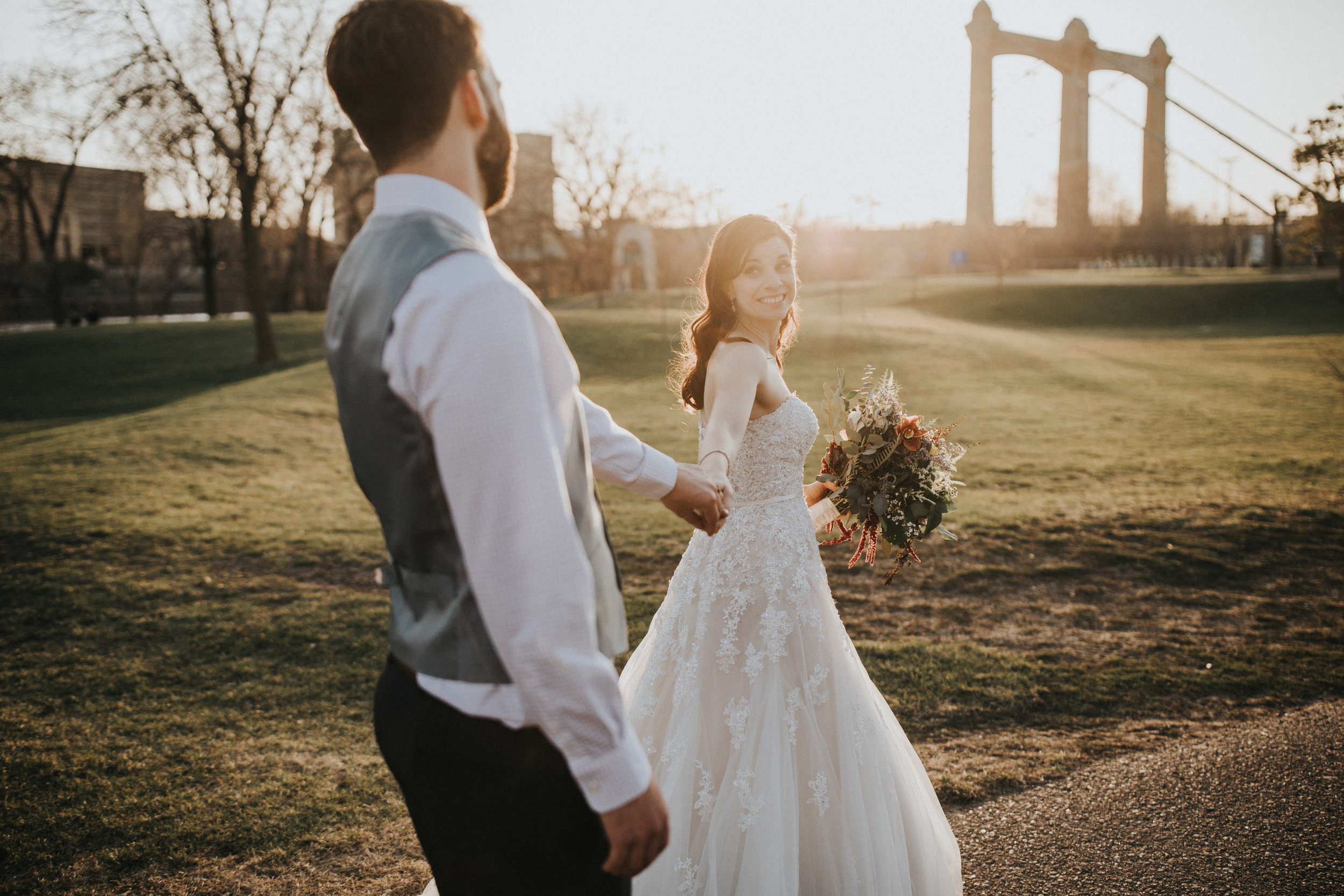 sunset photo by Russell Heeter Photography :: Minneapolis wedding planner Sixpence Events :: Nicollet Island Pavilion :: april wedding in Minnesota.jpg