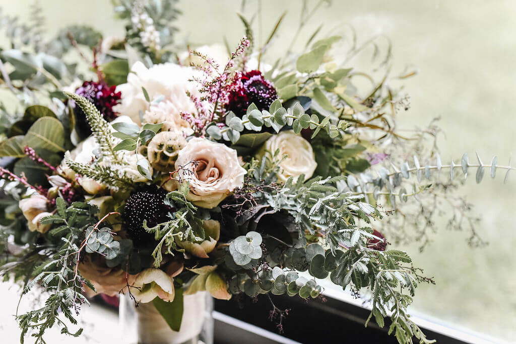 Laura Haya Photography | Sixpence Events Day of Coordinating | Bunker Hills Event Center Minnesota | bridal bouquet by Eclectic Elegance, eucalyptus cinerea, veronica, lisianthus, scabiosa