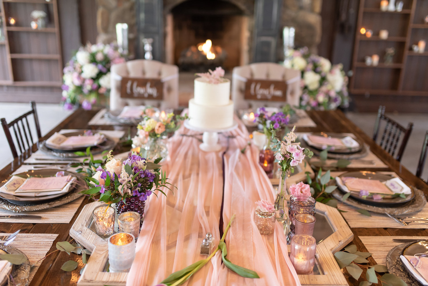 Sarah and Mark | Hope Glen Farm | Kelly Birch Photo | Sixpence Events & Planning wedding planning in Minnesota | pink table runner | two tiered white cake with pink astilbe on top