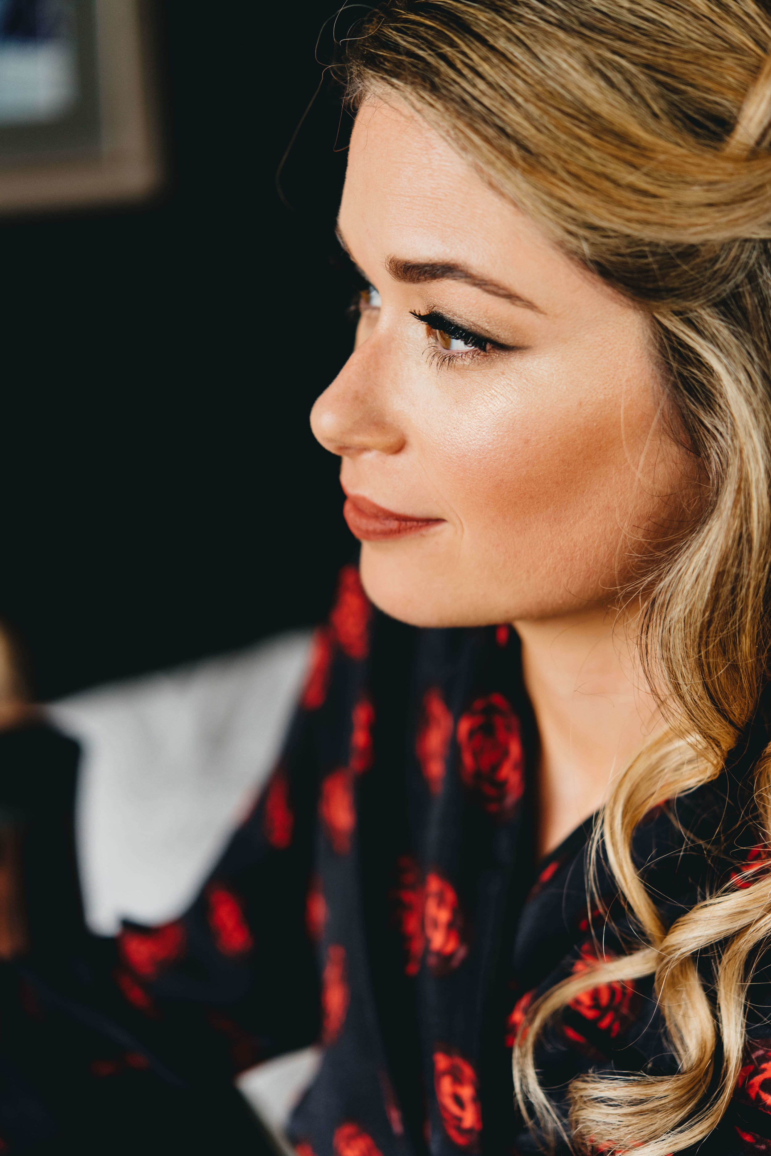 Roy Son Photography | Raspberry Island and Octo Fish bar | Minneapolis wedding planner Sixpence Events | bridal getting ready robe - navy with red, natural makeup with a red muted lip, perfect brows