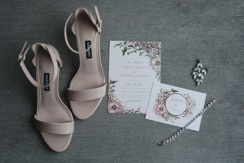 Ashley and Tom | Mariah Brink Photo | Hyland Hills Wedding | Sixpence MN wedding planner | strappy nude heels for wedding Nine West with stationery