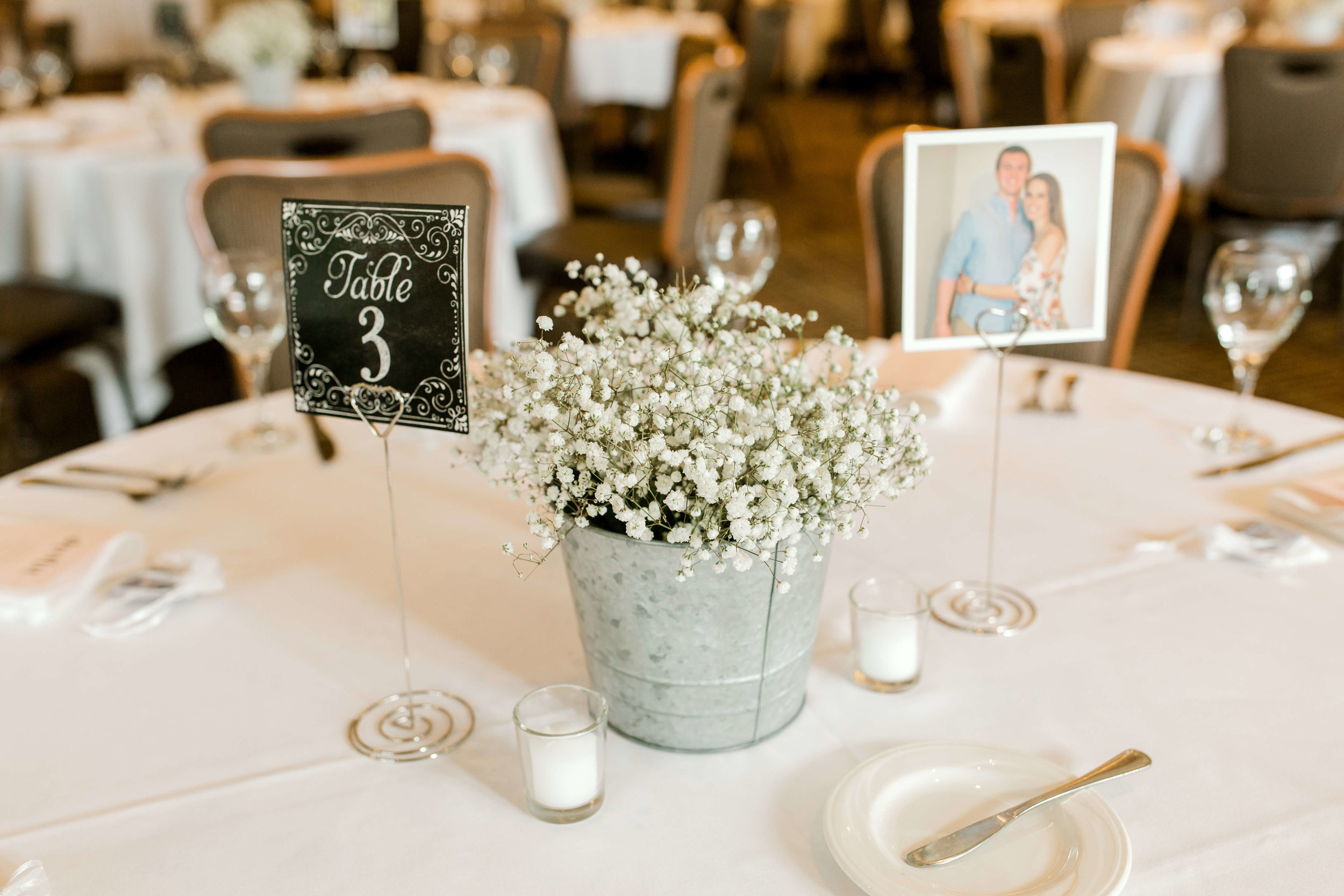 queen anne's lace in tin bucket wedding centerpiece | Lauren Baker Photography | Sixpence Events Blog Post: Must Have Wedding Photography Tips