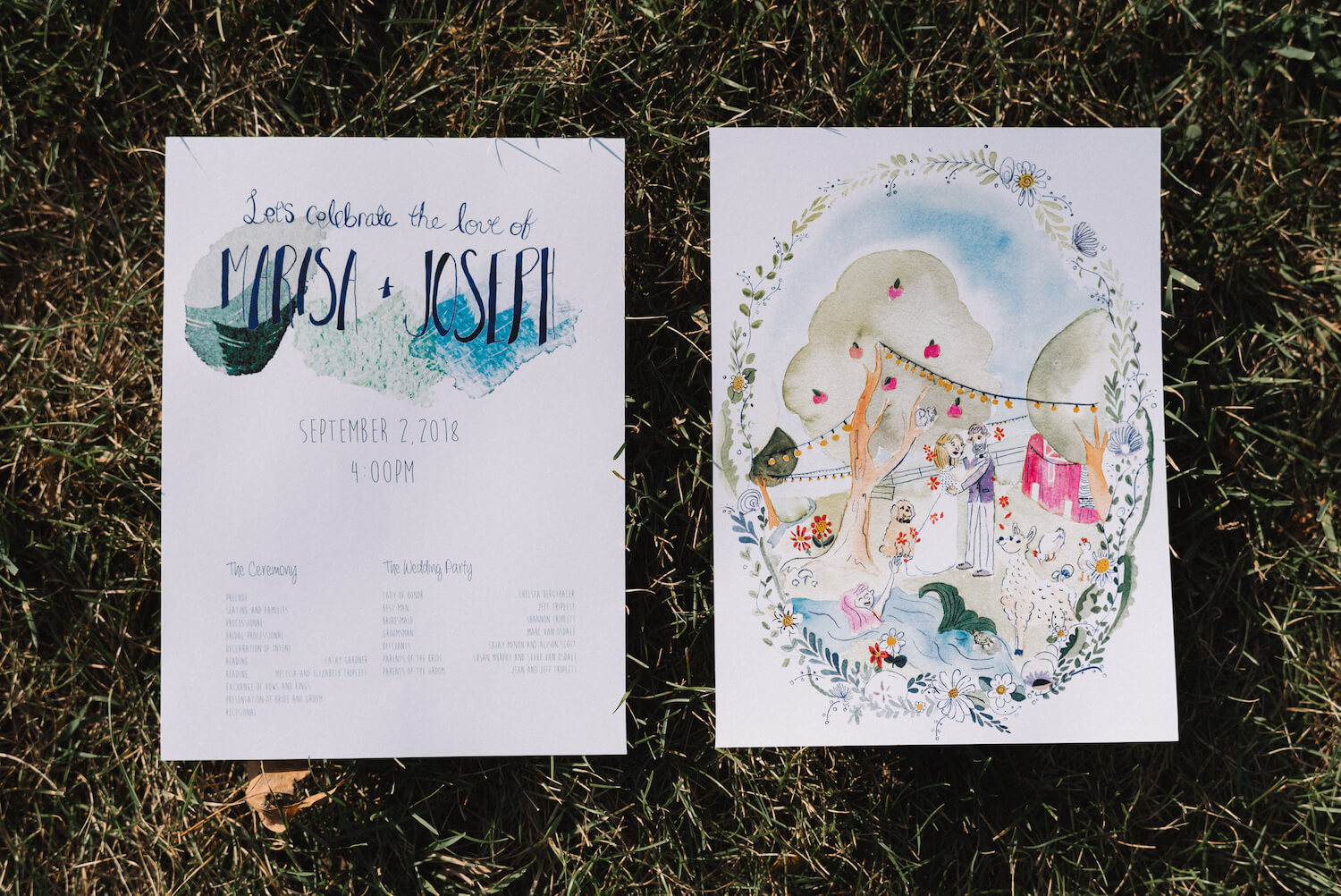 DIY wedding program with art on the back | Jonny and Liz Minnesota Wedding Photographers | Sixpence day of coordinating at Gale Woods farm venue near the lake.JPG