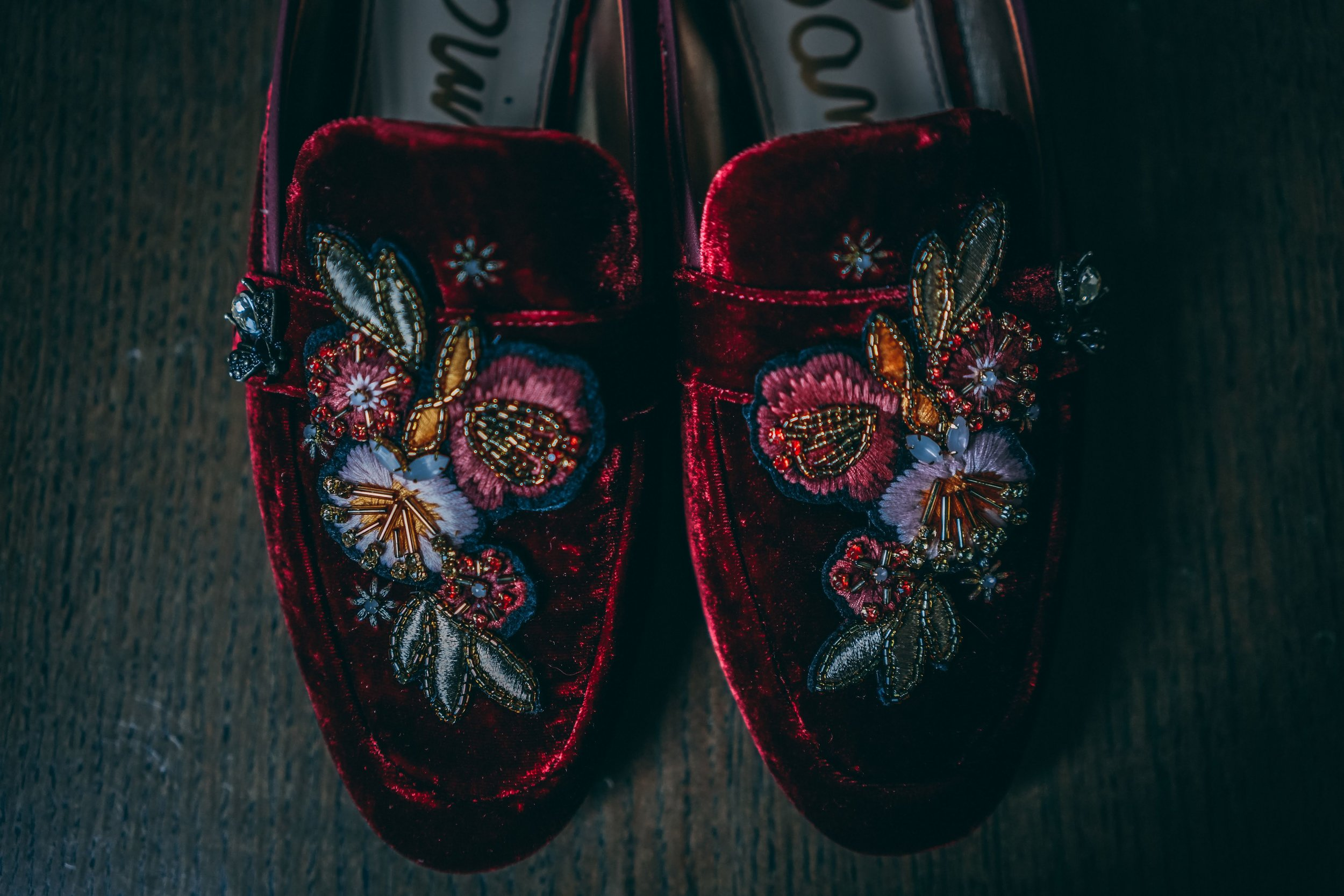 velvet embroidered beaded loafers | Danny Photography | Minnesota wedding planner Sixpence Events | The Blaisdell