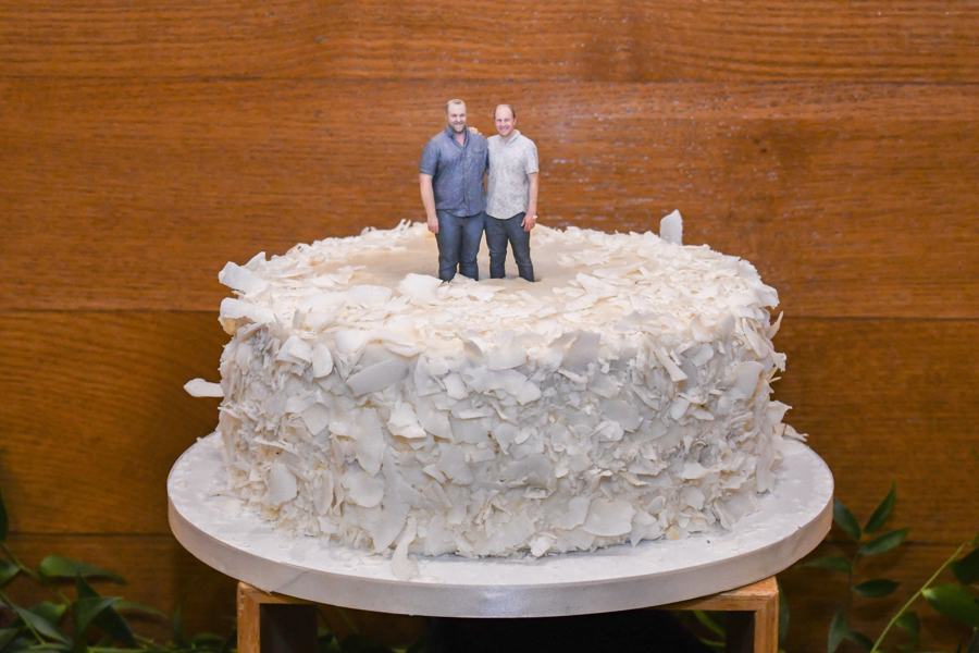 Amy Wurdock Photography Ned Loves Ryan | SIxpence Events Day of Coordinating at Silverwood park | 3D printed cake topper of grooms