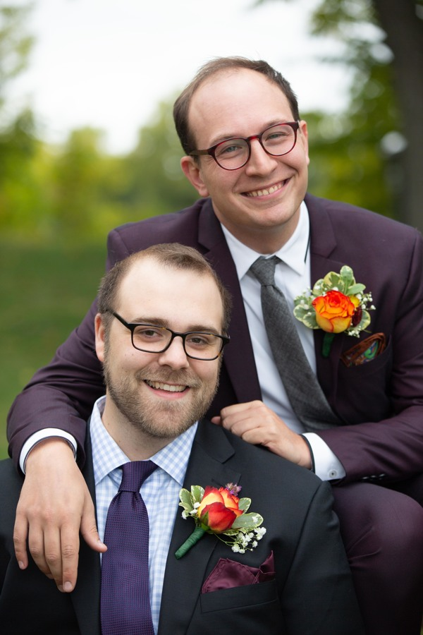 Amy Wurdock Photography Ned Loves Ryan | SIxpence Events Day of Coordinating at Silverwood park | eggplant suit | grooms with glasses