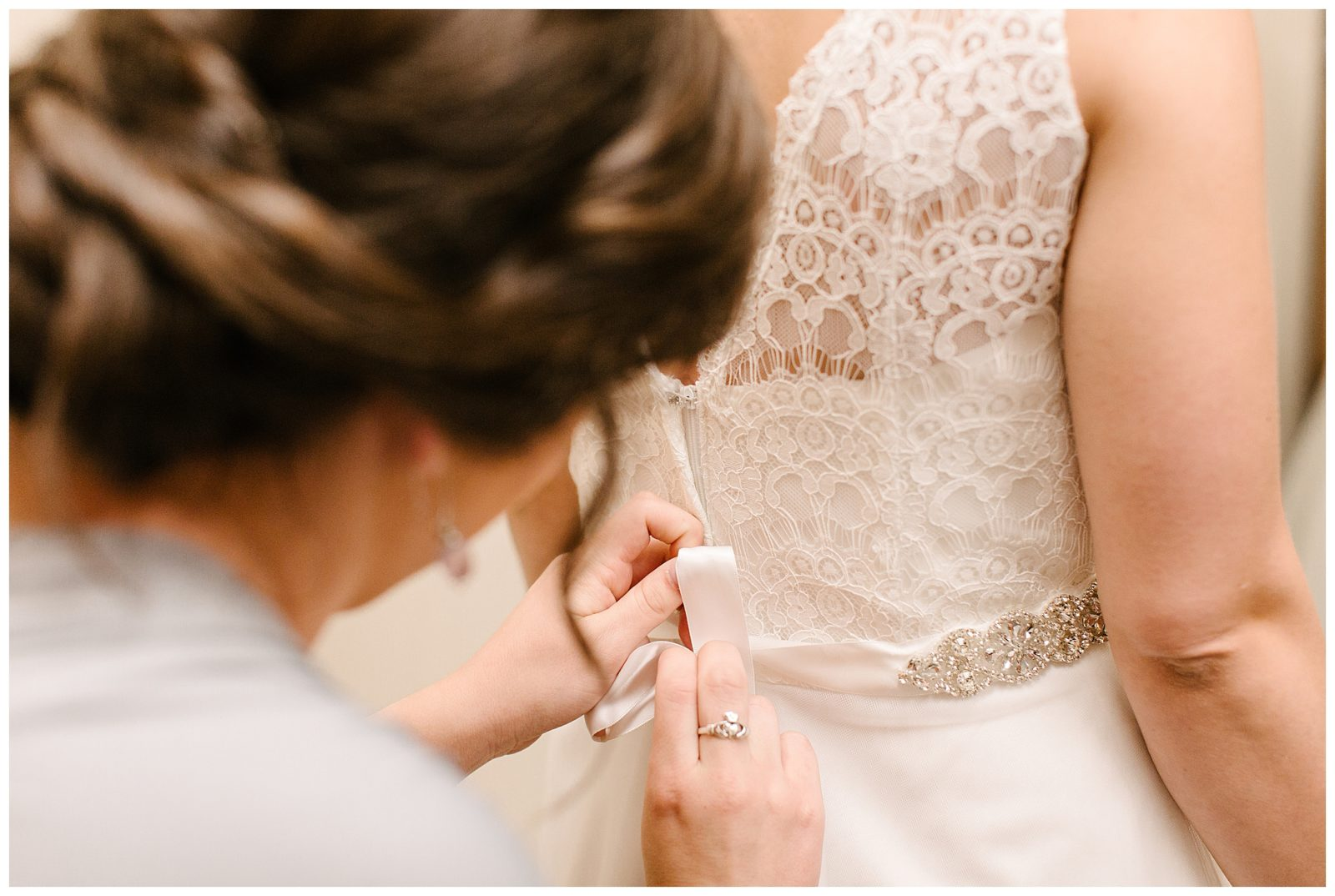 Silverwood Park wedding | May 4th wedding | Tigerlily Photography | Sixpence Events and Planning day of coordinating | mom helping bride | lace strap dress