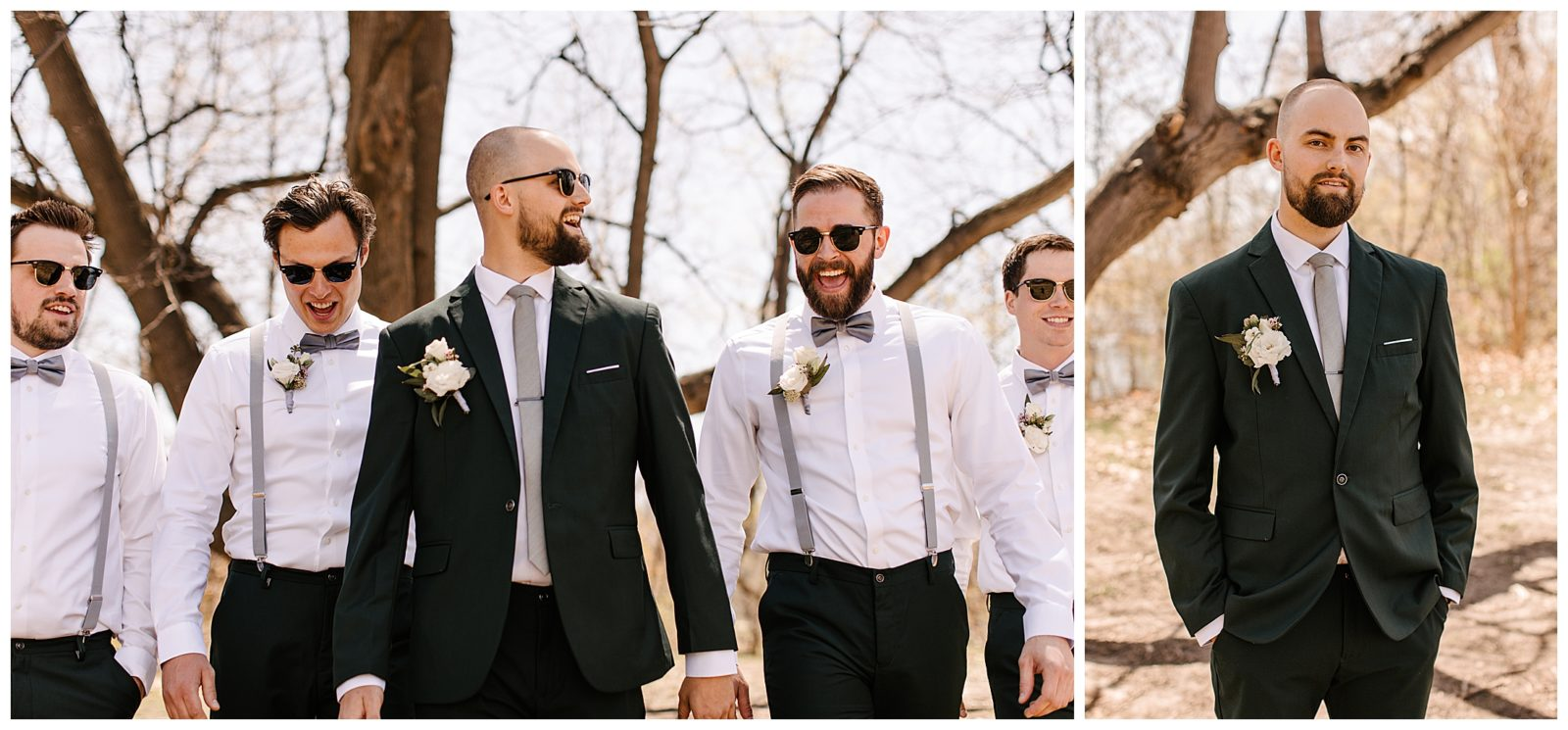 Silverwood Park wedding | May 4th wedding | Tigerlily Photography | Sixpence Events and Planning day of coordinating | green groom's suit, groomsmen in gray suspenders and bowtie