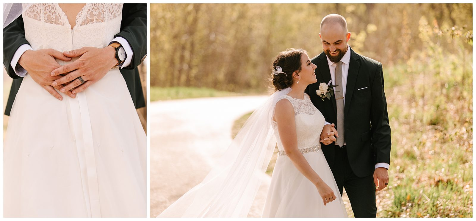 Silverwood Park wedding | May 4th wedding | Tigerlily Photography | Sixpence Events and Planning day of coordinating | bride and groom on the trail | groom with shaved head and beard