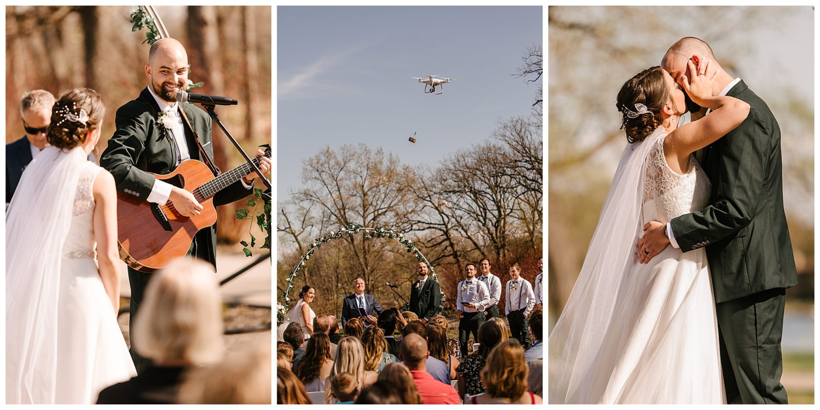 Silverwood Park wedding | May 4th wedding | Tigerlily Photography | Sixpence Events and Planning day of coordinating | groom plays a song during ceremony, drone delivers the rings
