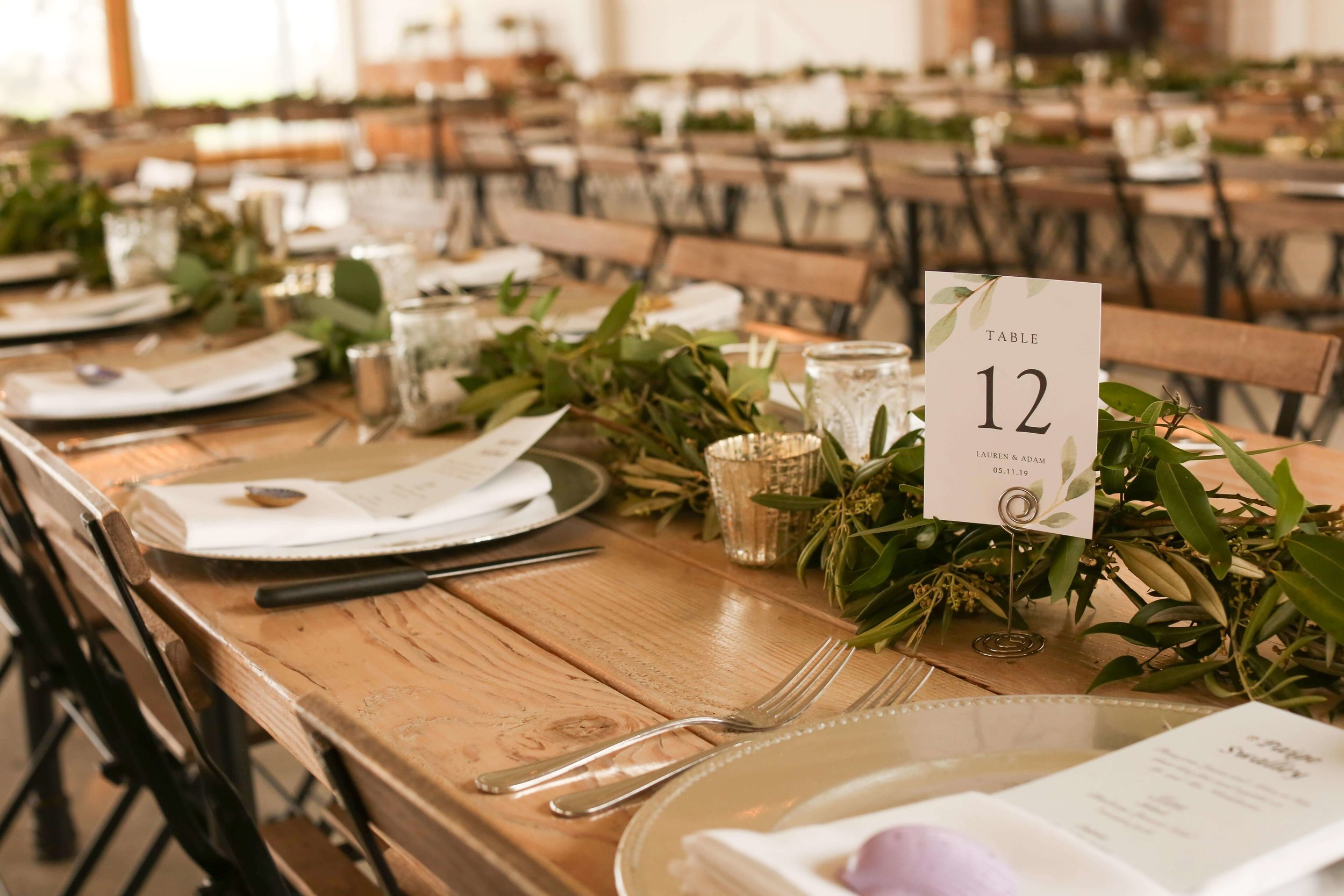 simple greenery runner minimal | Lauren + Adam - SIxpence Events and Planning - Legacy Hill Farm - Unique Touch Photography.jpg