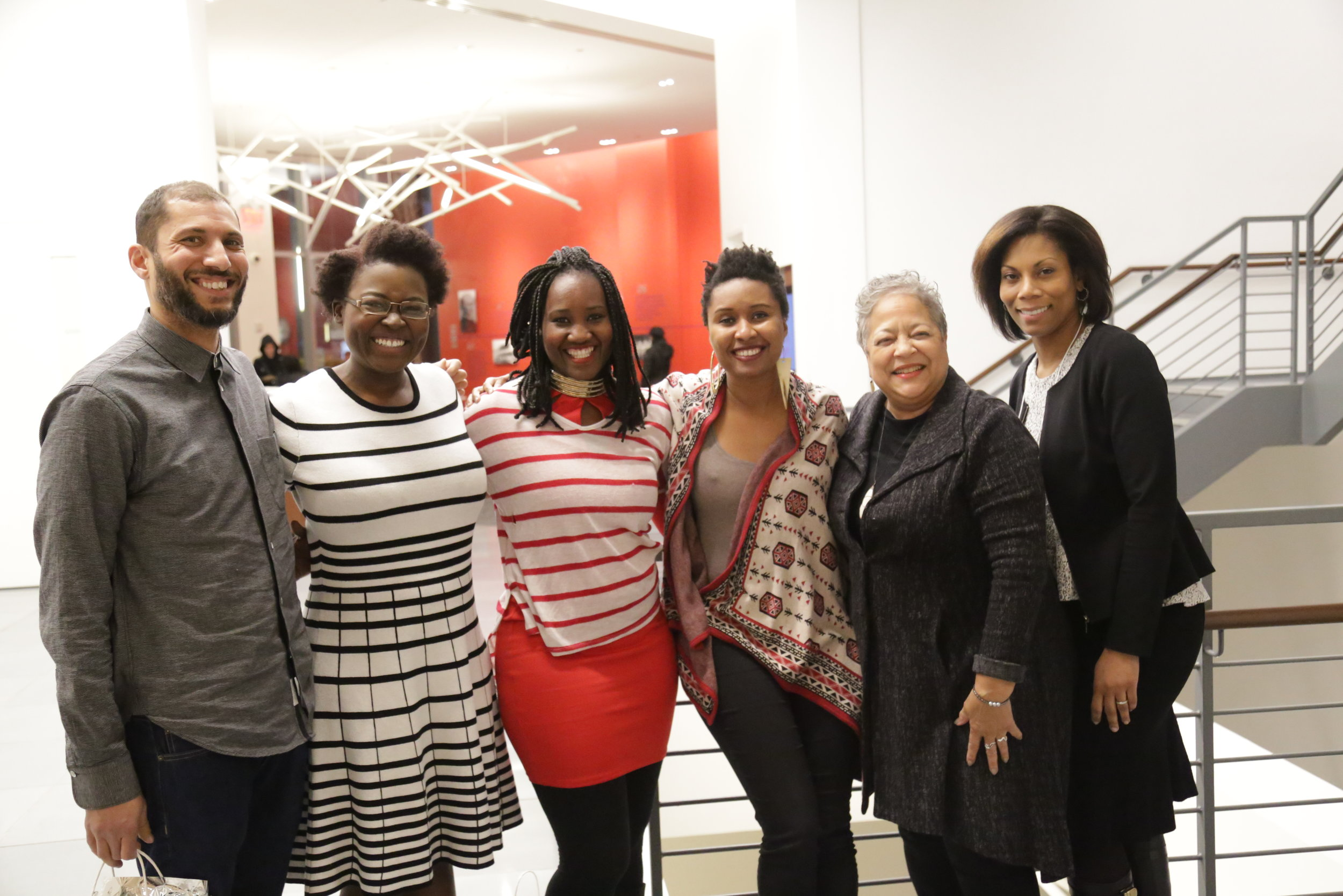 From left: Marc Thomas ( Black America Again),   Chengusoyane Kargbo ( Charcoal ), Lorry Francois ( Charcoal ), Francesca Andre ( Charcoal ), Michelle Materre, Terry Prettyman Bowles