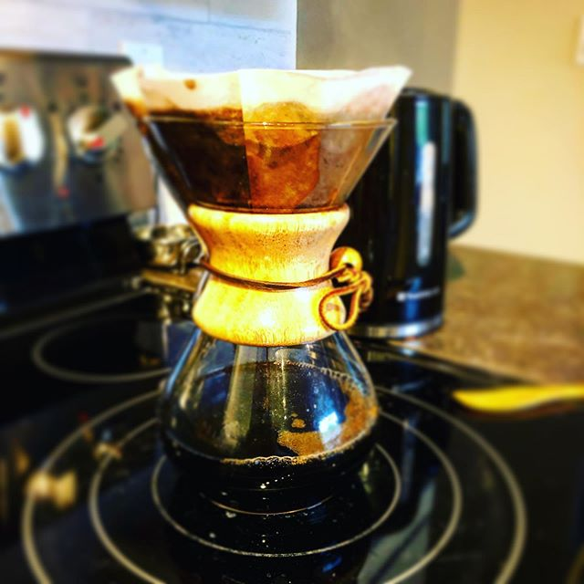 "Pure coffee bliss is brewing. If you love ""good"" coffee, a #Chemex is a must. #coffee #Chemex #stovetop #morningcoffee #starbucksbeans #expresso #expressobeans #coffeelover☕️"