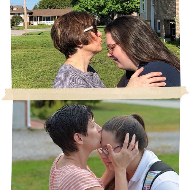 Where have the years gone?!?! Today is @julesborden last day of high school. Top picture, she gets same kiss from she got on her first day (bottom). #graduation #highschoolstory #highschool #memories #growingfast #grownwoman
