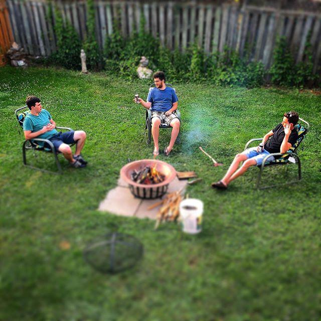 The Three Wise Men-having a summer summit. #Fire #Beer #Backyard #summer2019 #firebowl #SummerNight #ToBeYoung