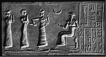 "Ur-Nammu (seated) bestows governorship on Ḫašḫamer,ensi of Iškun-Sin (cylinder seal impression, ca. 2100 BC). From Wikipedia, ""Code of Ur-Nammu."""