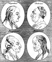 The four temperaments as depicted in an 18th century woodcut: phlegmatic, choleric, sanguine and melancholic. -- from Wikipedia