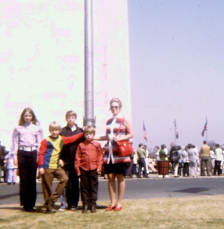 In front of the Washington Monument, 1971. I can't bear to look at the shirts I wore!
