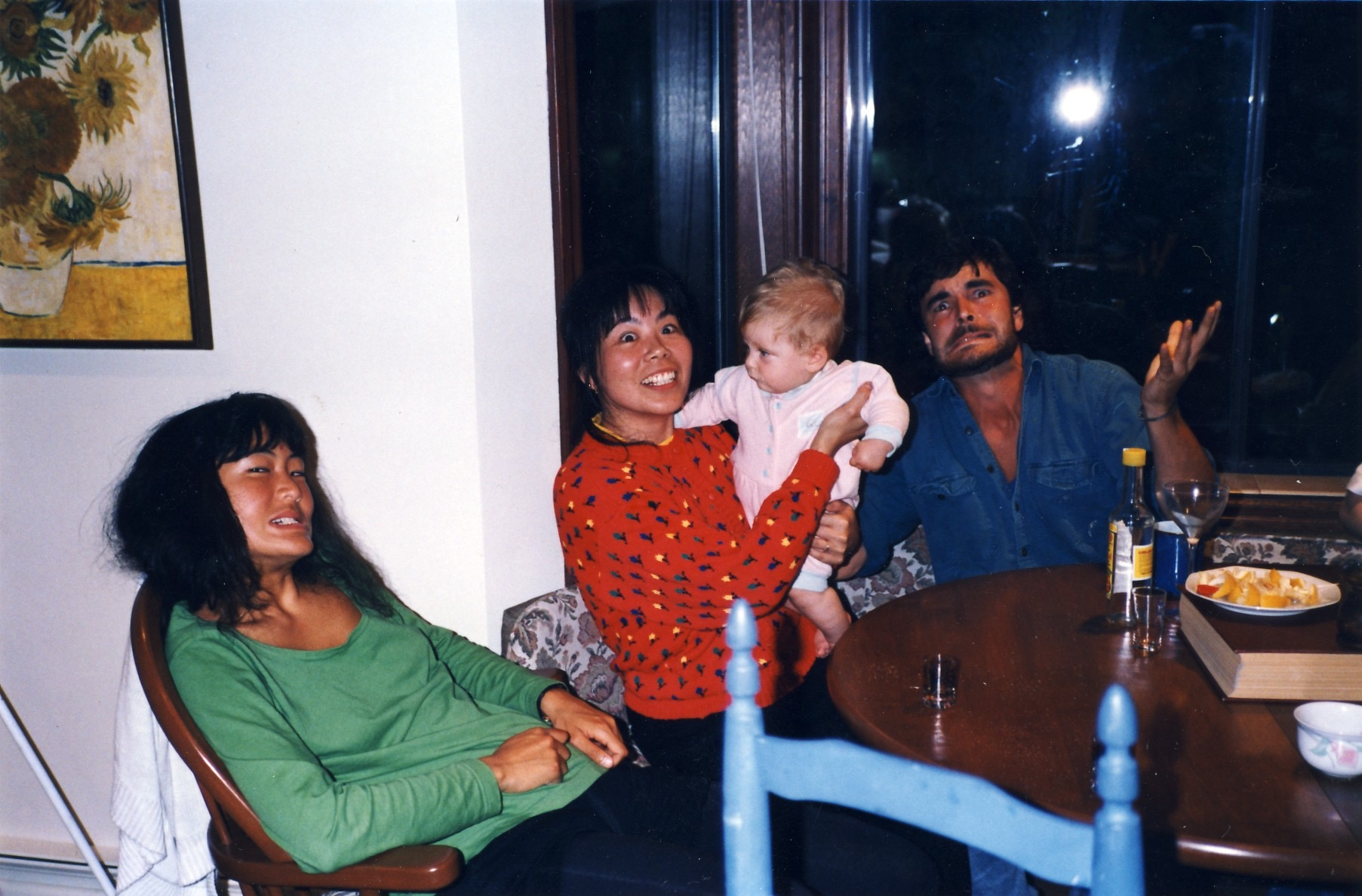 Mescal-time at my parents' place in Victoria. From left: Jackie, Ruby holding niece Jill, Rob ...