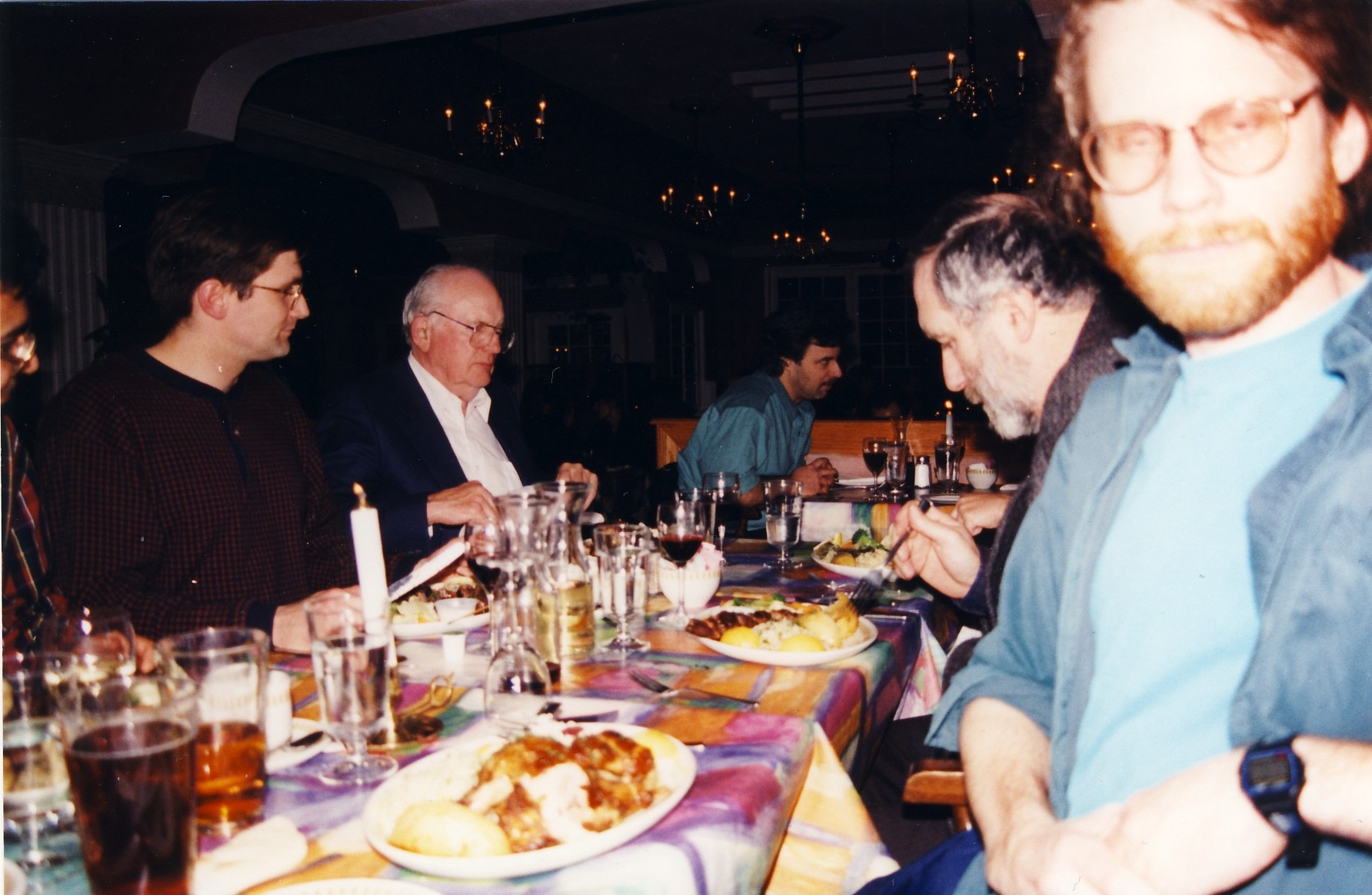 Post-defence party, with Thorsten, my dad, Ron Hatch, and others. That's me impersonating Salman Rushdie.