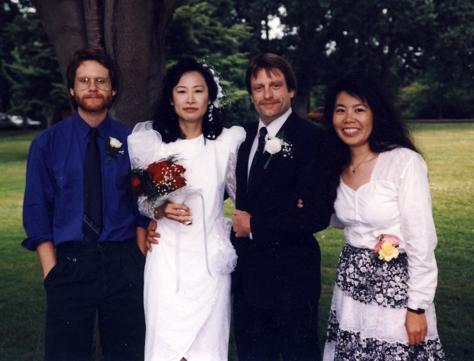 In Beacon Hill Park, Victoria, at my brother Allan's wedding to Sin-lin — who is from Mauritius, studied in Paris, and got to know my brother through Ruby.