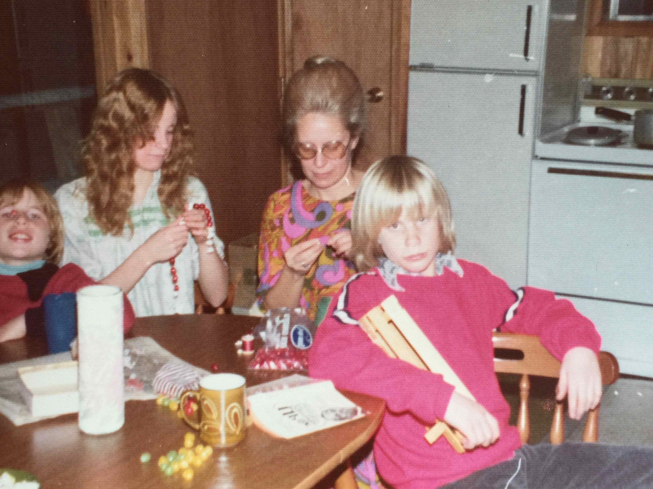 With Scott, Brenda, and mom, at our cabin on Rosen Lake, B.C. I was proud of the wooden basket I made in shop.