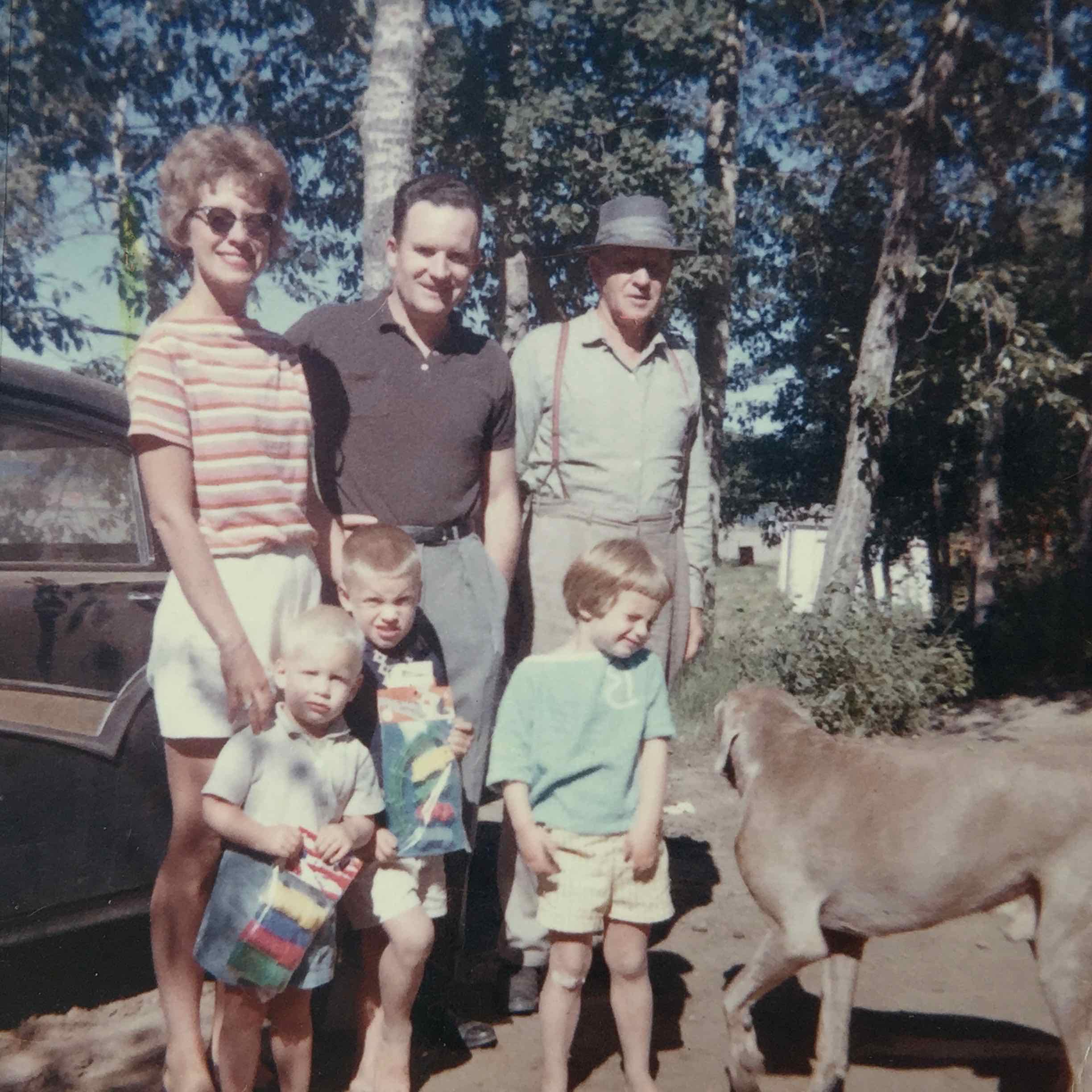 Top: mom (with normal sun-glasses), dad, and grandpa. Bottom: me and Allan with packages; Brenda facing off with grandpa's dog Ruff.