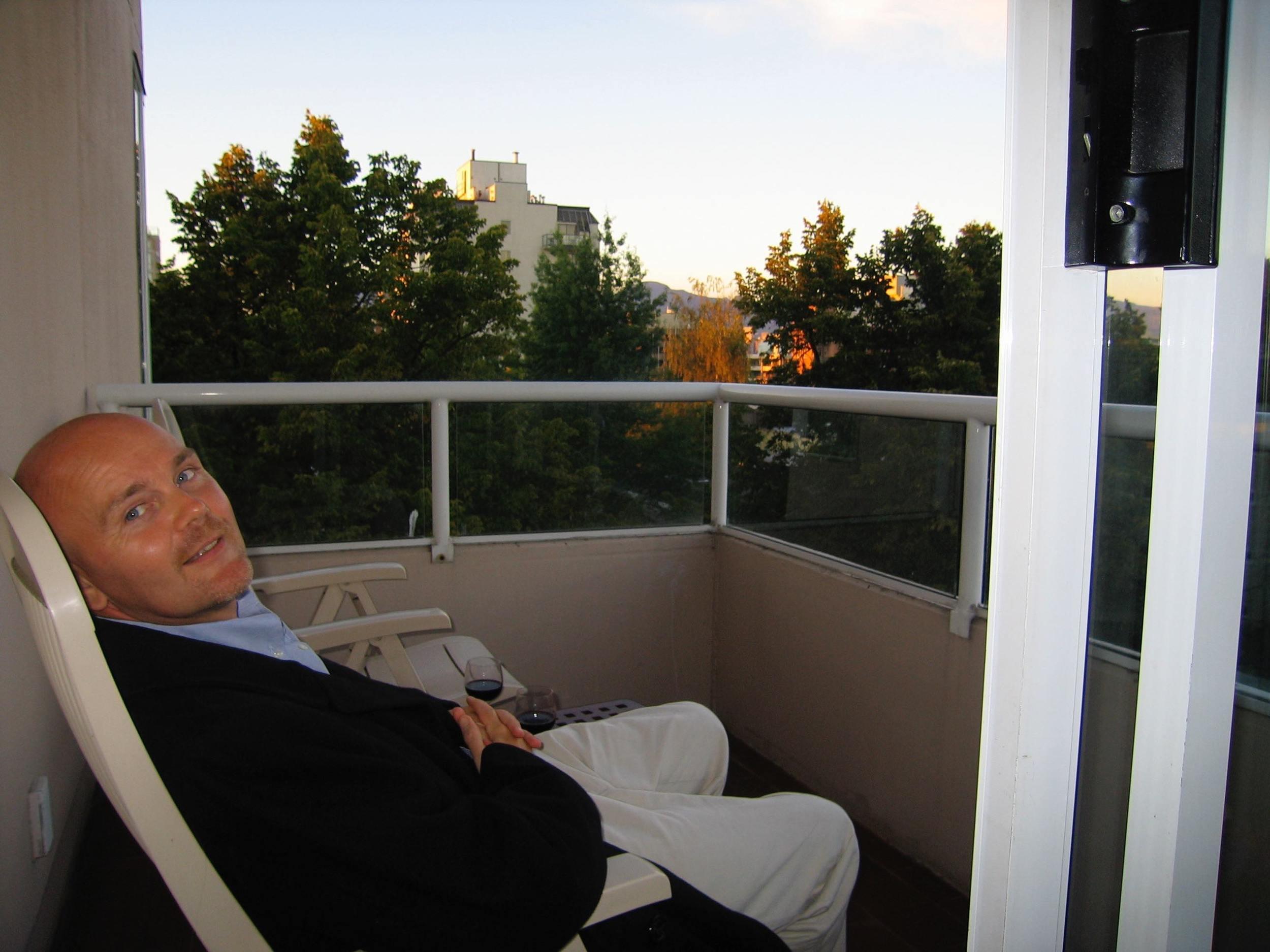 Ian on our balcony.