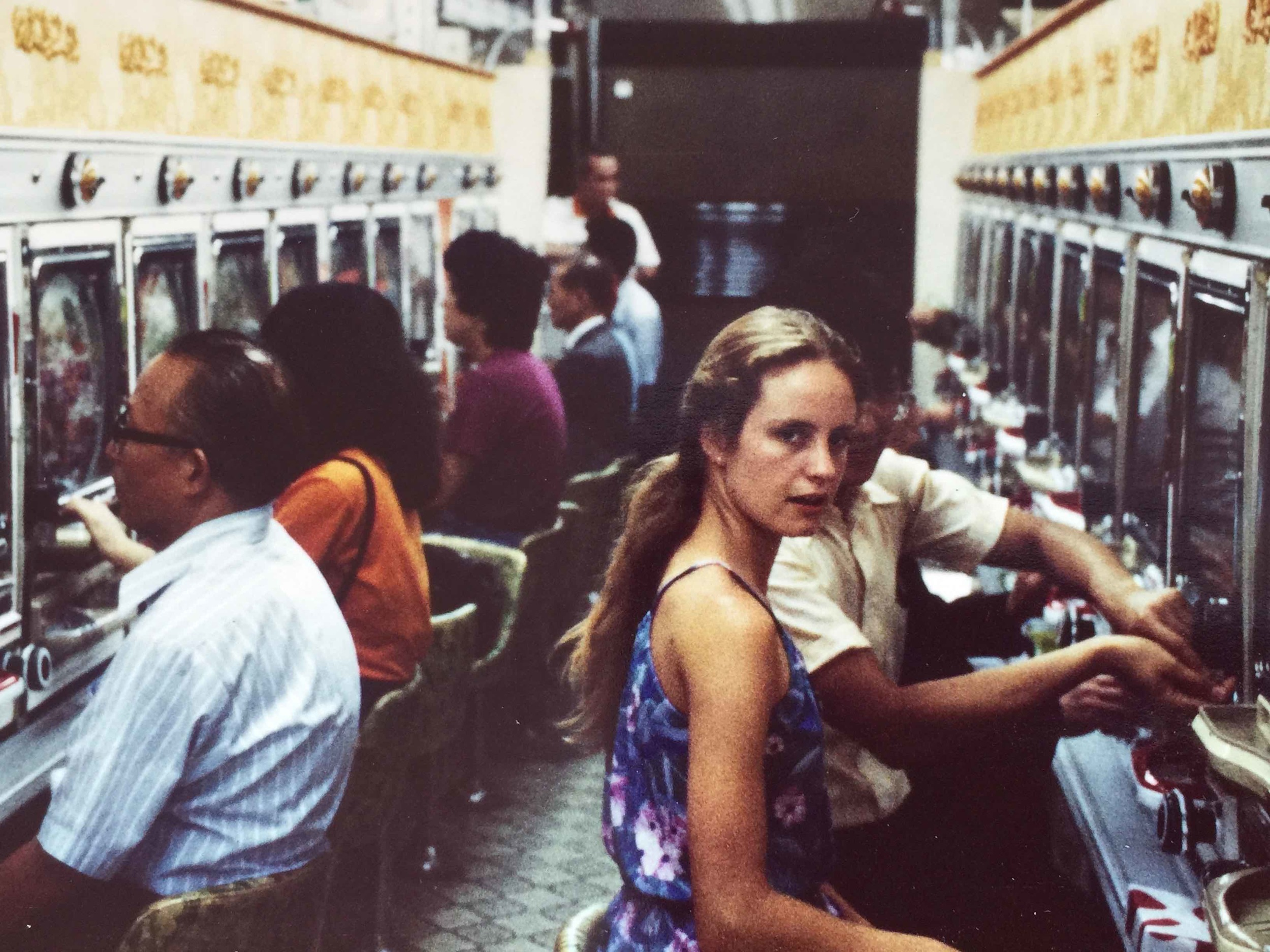 With Brenda in a pachinko parlour, Tokyo, 1980.