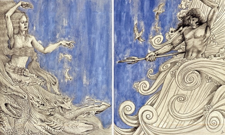 Tiamat and Marduk  by P. Tinker and  Marduk Battles Tiamat , from http://manmythmagic.blogspot.ca/2015/01/creation-mythology-babylonian.html (designated open source, but original source unknown)