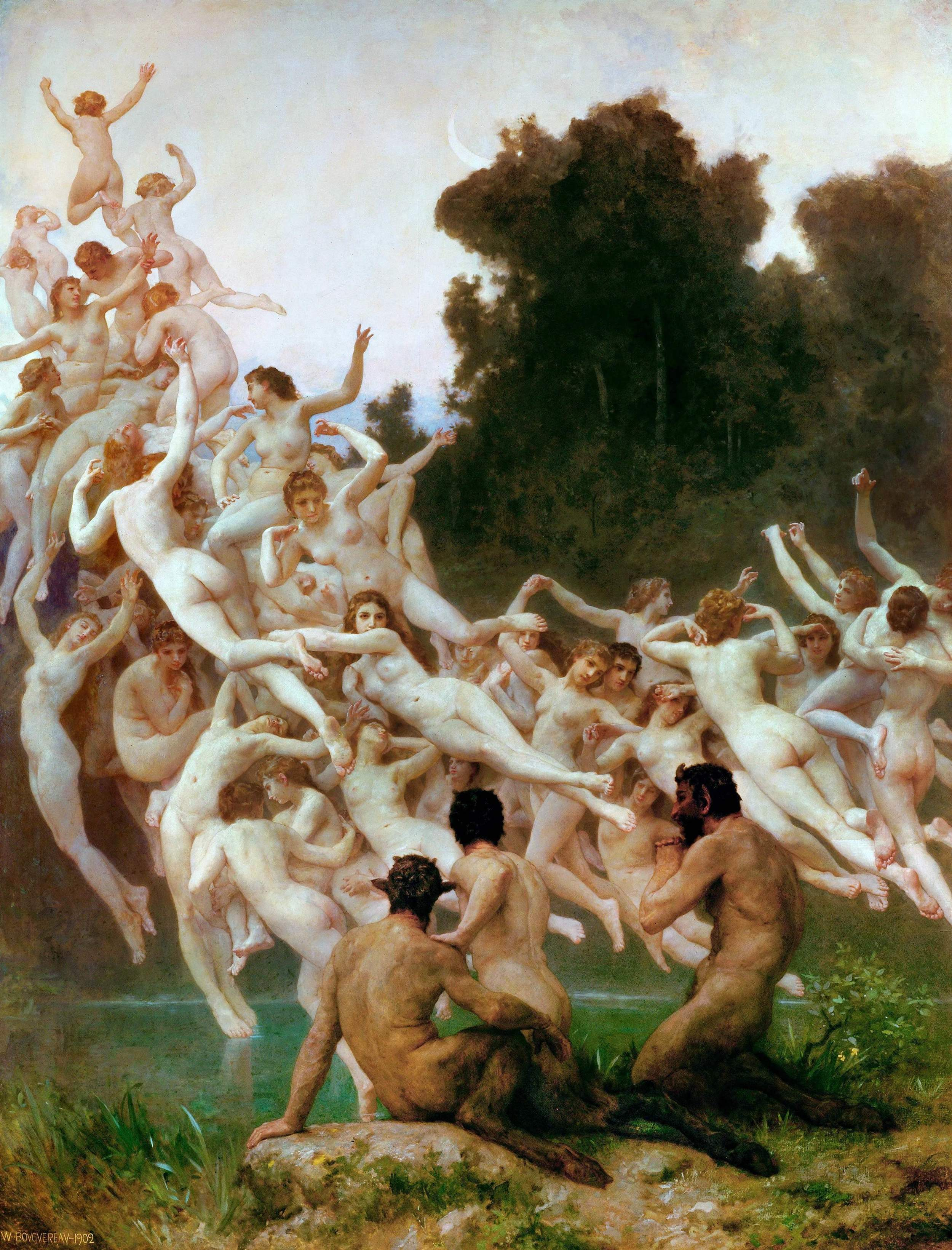 """The Downfall of the Æsir. The heavens split and the """"Sons of Múspell"""" ride forth upon the Æsir at Ragnarök as described in Gylfaginning chapter 51. By Karl Ehrenberg, 1882. (Wikimedia Commons) / Les Oréades, 1902, by William Bouguereau, in the Musés d'Orsay (Wikimedia Commons)"""