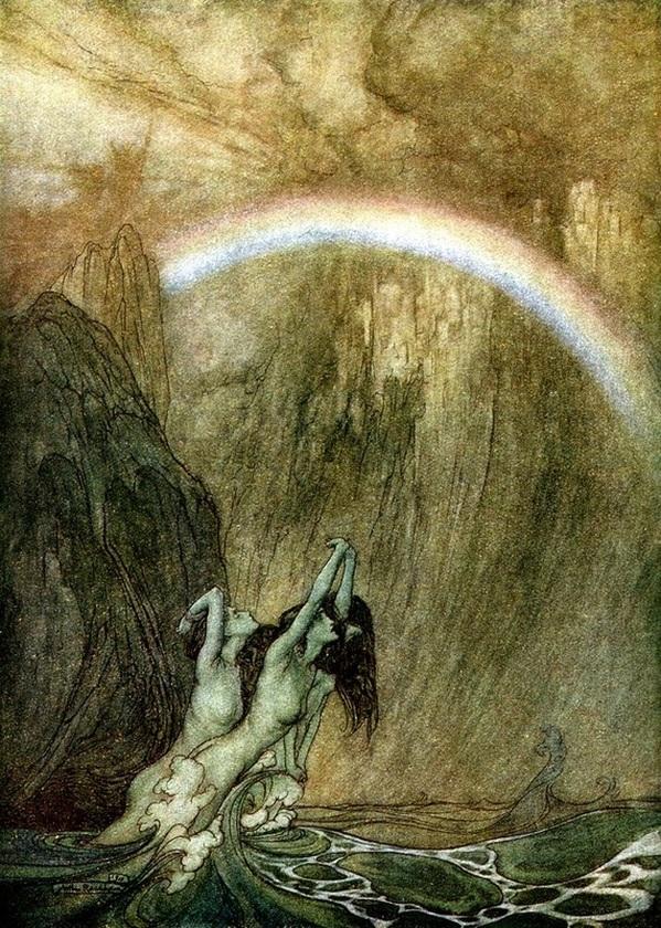 """""""The Rhine's fair children, bewailing their lost gold, weep,"""" by Arthur Rackham (1910)"""