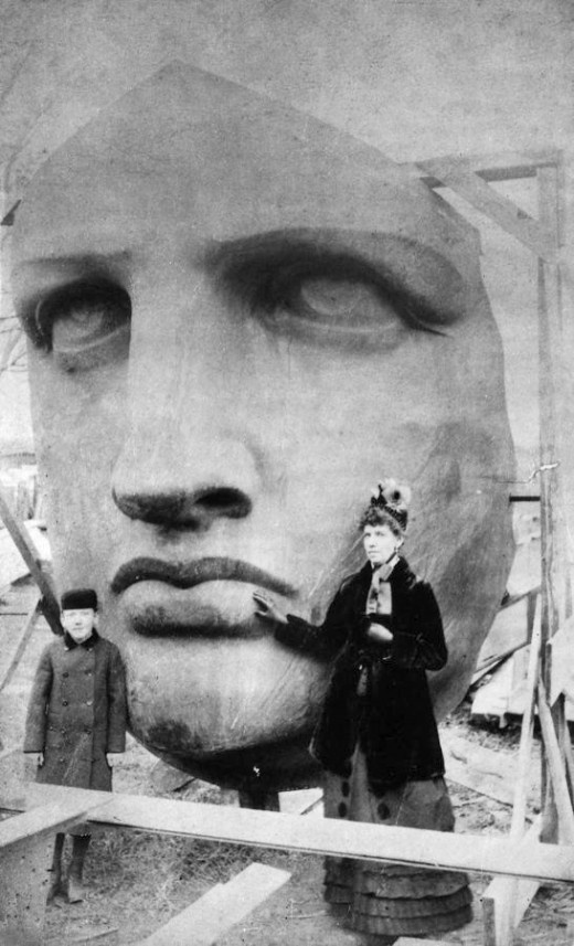 Unpacking of the head of the Statue of Liberty, which was delivered on June 17, 1885. From Wikipedia.