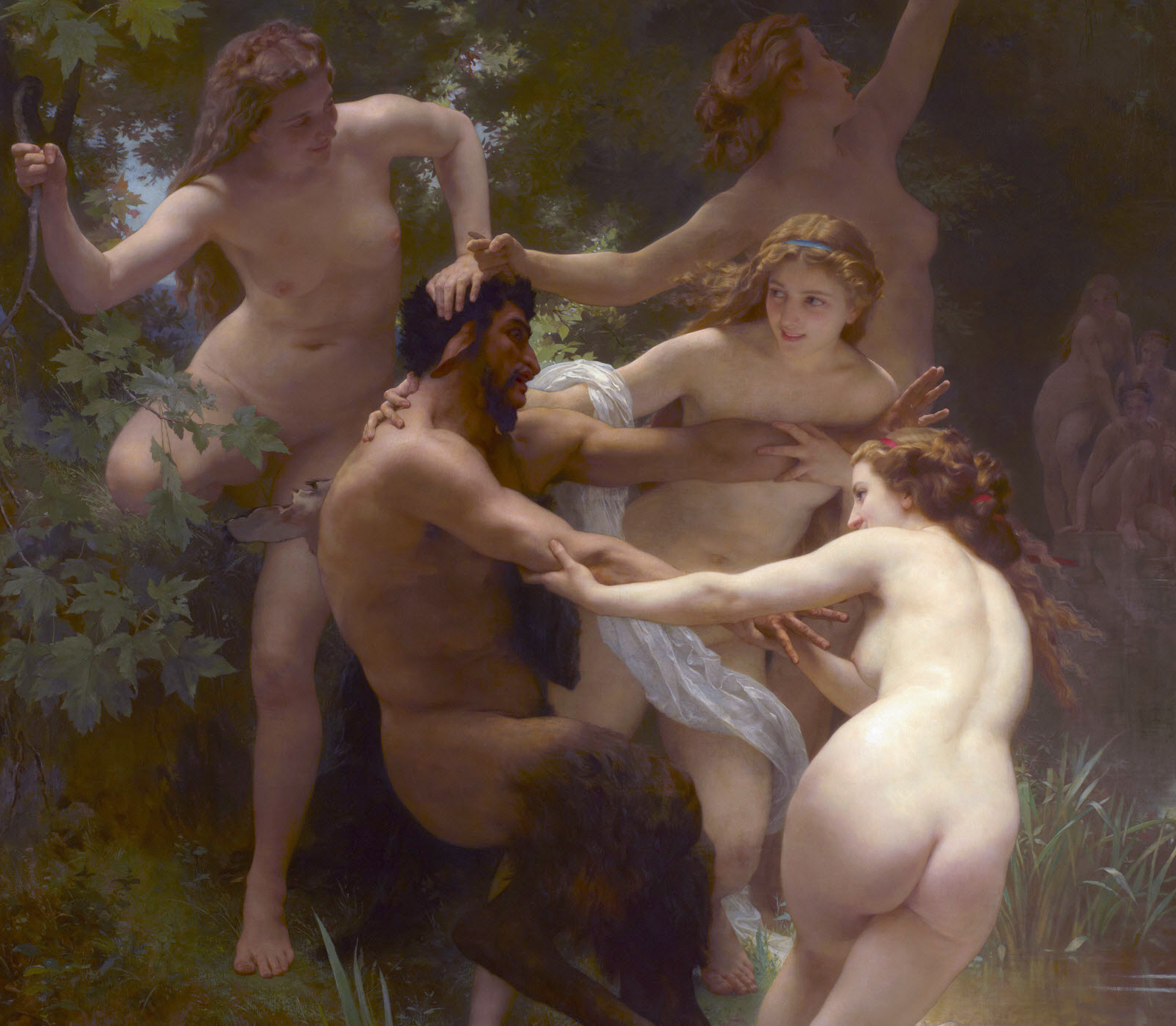 Nymphs and Satyr , by William-Adolphe Bouguereau, 1873