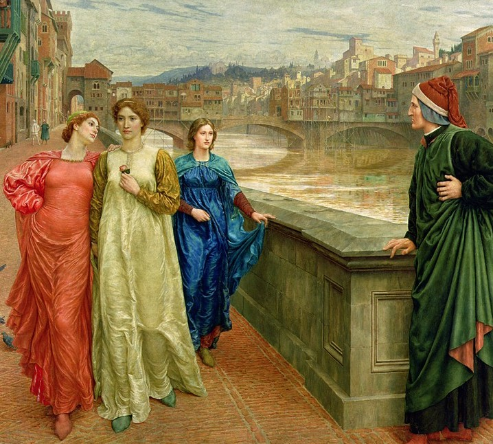 Dante Meets Beatrice at Ponte Santa Trinità , by Henry Holiday, 1883