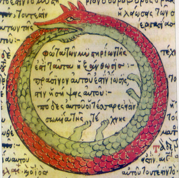 Ouroboros drawing from a late medieval Byzantine Greek alchemical manuscript. The text of the tract is attributed to Stephanus of Alexandria (7th century). From Wikimedia Commons.