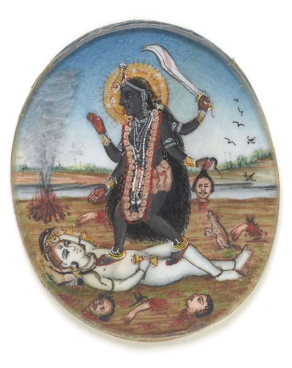 See the explanation of Daksinakali below; Goddess Kali dancing on Shiva (from Wikimedia Commons,  http://catalogue.wellcomelibrary.org/record=b1582091 )