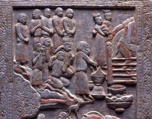 Detail from Sogdian-Zoroastrian Funerary Couch from China at Miho Museum, Japan.The images purport to show a soul crossing the chinvat bridge, a priest and fire, and the sagdid dog -- from http://www.heritageinstitute.com/zoroastrianism/sugd/trade.htm#panels