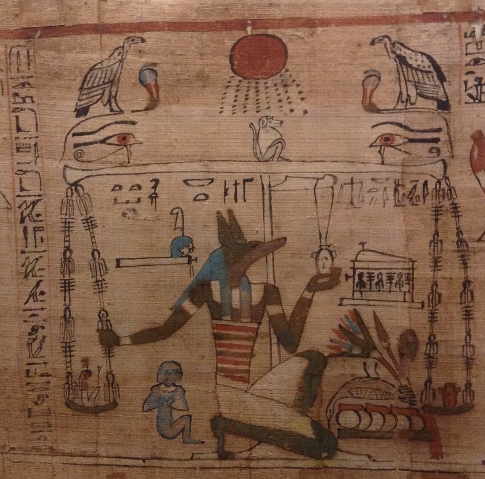 The Weighing of the Scales, from the  Book of the Dead of Aaneru , Thebes, c. 1070-946 BC, in the Egyptian Museum, Turin (photo RYC)