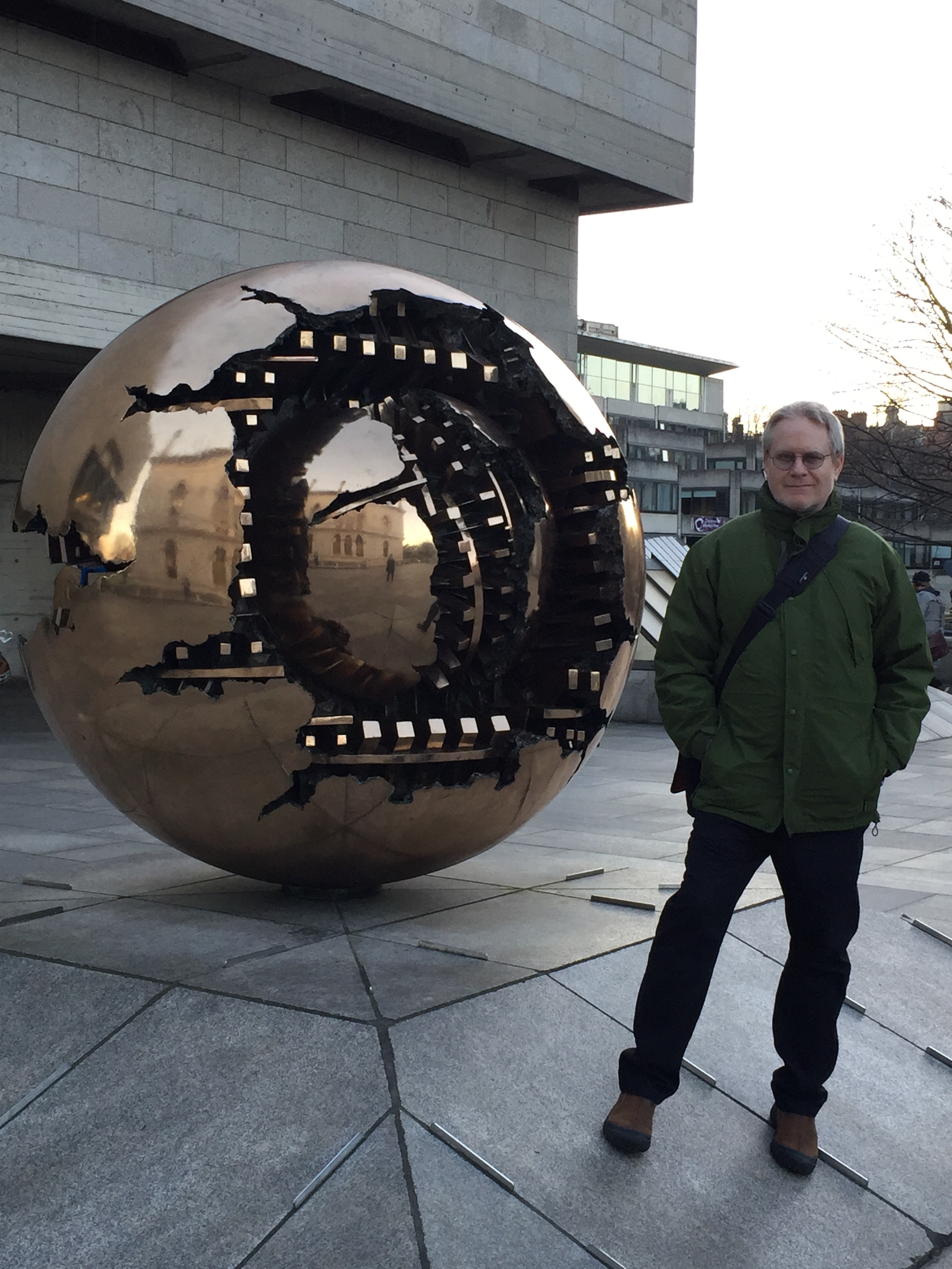 Trinity College, next to Pomodoro's sculpture,  Sphere Within Sphere