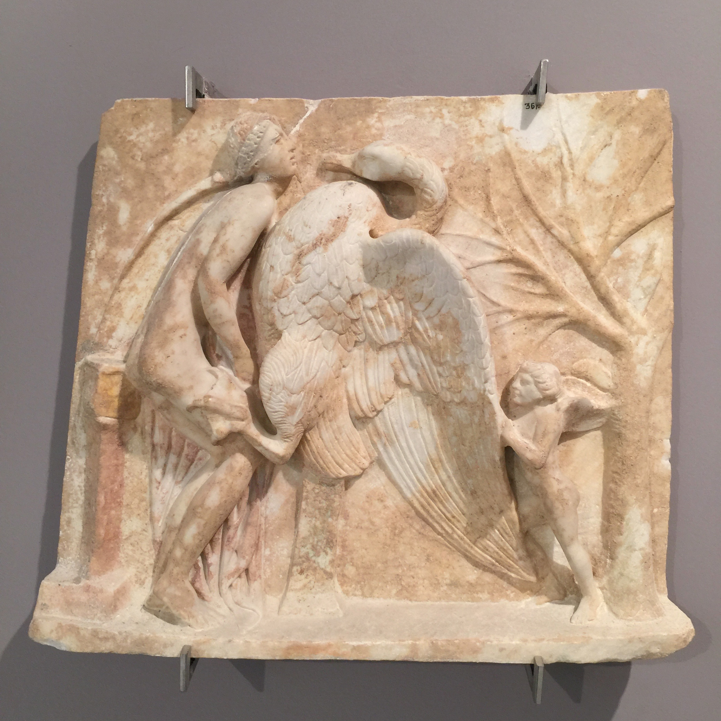 Leda and the swan (the swan is Zeus in disguise); Cerberus (or the 'hound of hell'), both from the Archeological Museum in Heraklion, Crete (photos RYC)