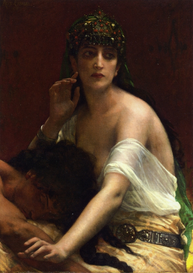 Samson and Delilah  (1878) by Alexandre Cabanal (source: The Athenaeum, Wikimedia Commons)