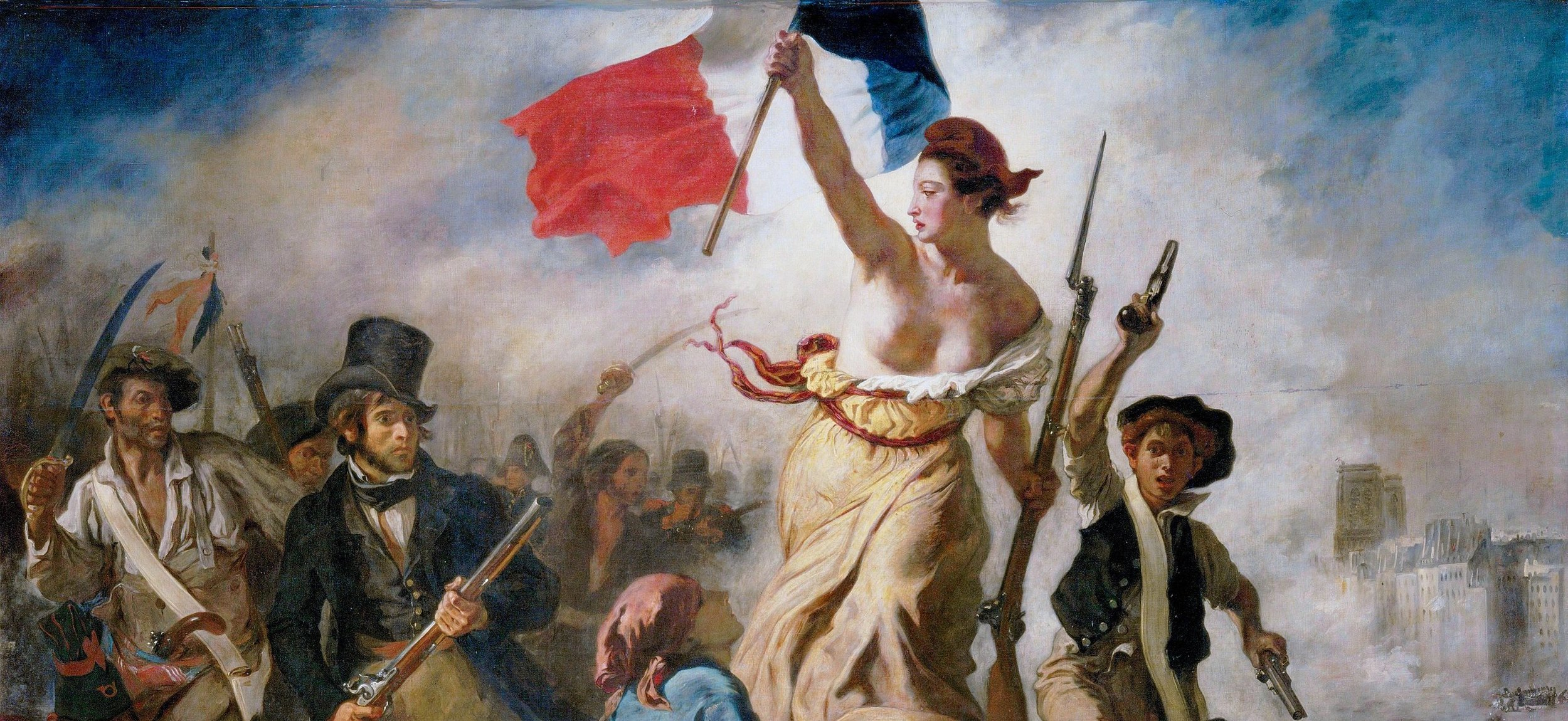 The top half of  Liberty Guiding the People , 1830, by Eugène Delacroix ( Le 28 Juillet. La Liberté guidant le peuple ), from Wikimedia Commons