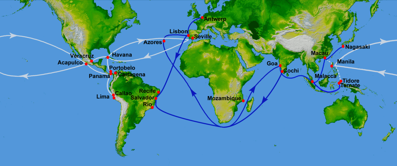 Map showing main Portuguese (blue) and Spanish (white) oceanic trade routes in the 16th century, as a result of the exploration during the Age of Discovery.